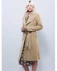 Free People - Metallic Suede Trench - Lyst
