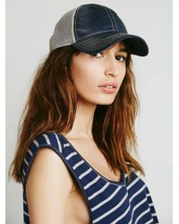 Free People | Blue Sunbleached Ball Cap | Lyst