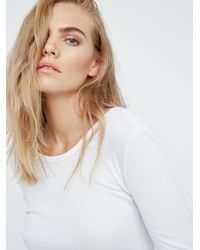 Free People White Surplice Back Long Sleeve Layering Top