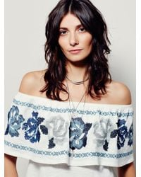 Free People | White Hendrix Mixed Print Blouse | Lyst