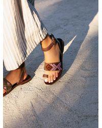Free People | Purple Torrence Stitch Flat Sandal | Lyst