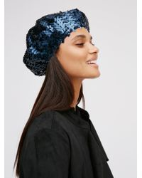 bcfe5732be7af Free People Up All Night Sequin Beret in Blue - Lyst