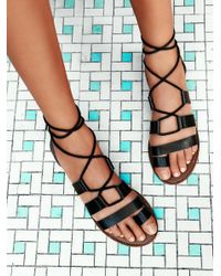 Free People | Black Vegan Maddie Tie Up Sandal | Lyst