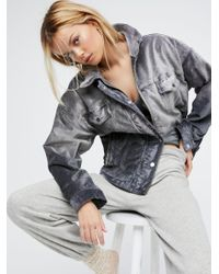 Free People | Gray Velvet Trucker Jacket | Lyst