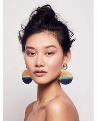 Free People | Multicolor Washed Patina Knocker Hoops | Lyst