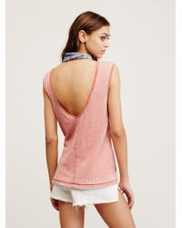 Free People - Pink Washed Thermal Muscle Tank - Lyst