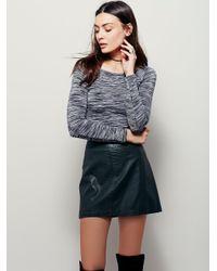 Free People | Blue Zip To It Vegan Leather Mini Skirt | Lyst