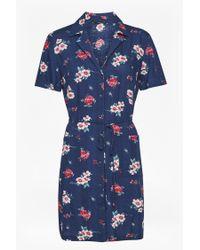 French Connection - Blue Clarette Floral Mini Shirt Dress - Lyst