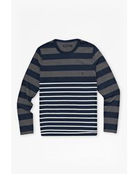French Connection - Gray Craven Stripe Long Sleeve T-shirt for Men - Lyst