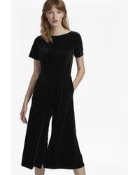 French Connection - Black Aurore Velvet Jersey Jumpsuit - Lyst