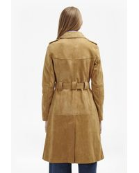 French Connection - Blue Tara Suede Belted Coat - Lyst