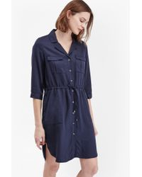 French Connection | Blue Kruger Tencel Tie Waist Shirt Dress | Lyst