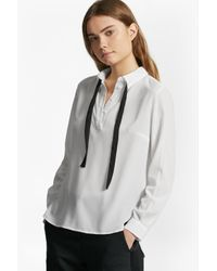French Connection | Black Polly Plains Tie Neck Shirt | Lyst