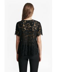 French Connection - Black Midnight Bloom Plains Lace Top - Lyst