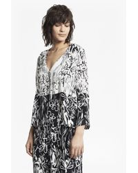 French Connection | Black Copley Printed Crepe Blouse | Lyst