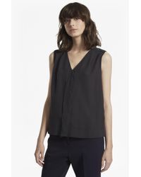 French Connection | Gray Crepe Light V Neck Top | Lyst