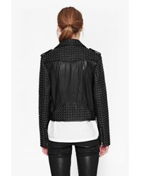 French Connection   Black Chaos Leather Biker Jacket   Lyst