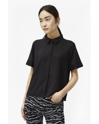 French Connection | Black Polly Plains Frill Sleeve Shirt | Lyst