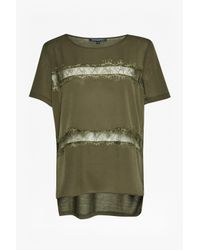 French Connection | Green Polly Plains Lace Inserts Top | Lyst