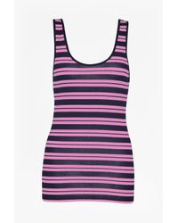 French Connection - Pink Stripe Mix Up Vest Top - Lyst