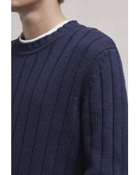 French Connection - Blue Cotton Wool Mixed Stitch Jumper for Men - Lyst
