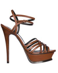 4bd01d9b3486 Lyst - Saint Laurent Leather Heel Sandals Tribute 105 in Brown