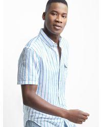 d6b20d5034 Gap Linen-cotton Stripe Short Sleeve Shirt in Blue for Men - Lyst