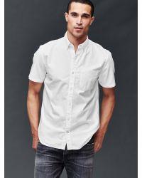 Gap   White Oxford Short Sleeve Standard Fit Shirt for Men   Lyst