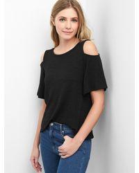 898749a678dbe Lyst - Gap Softspun Cold Shoulder Top in Black