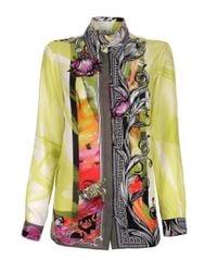 Versace | Multicolor Floral Baroque Silk Shirt Lime | Lyst