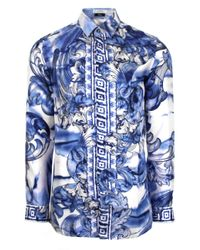 Versace | Tie Dye Baroque Hand Painted Silk Shirt Blue/navy for Men | Lyst