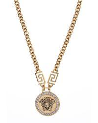 Versace | Metallic Medusa Head Crystal Necklace  | Lyst