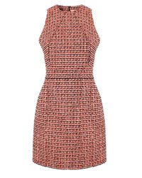 Victoria Beckham | Red Narrow Shoulder Dress Neon Tweed | Lyst
