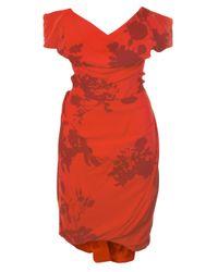 Vivienne Westwood Gold Label | Exclusive Floral Printed Silk Cocotte Dress Red/bordeaux | Lyst