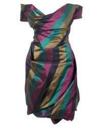 Vivienne Westwood Gold Label   Blue Exclusive Metallic Striped Taffeta Cocotte Dress Multicolour   Lyst