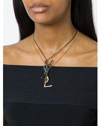 Saint Laurent - Metallic Monogram Deconstructed Pendant Necklace - Lyst