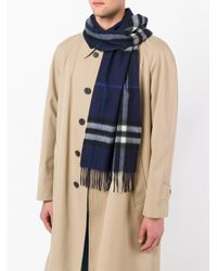 Burberry - Blue Classic Check Cashmere Scarf for Men - Lyst