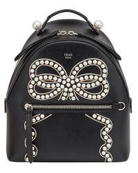 Fendi - Black Bow Detail Mini Backpack - Lyst