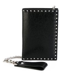 Valentino - Black Soul Rockstud Leather Wallet - Lyst