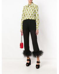 Prada - Black Feathered Cropped Trousers - Lyst