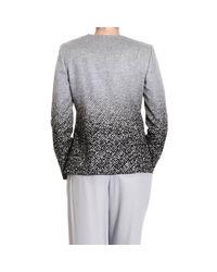 Giorgio Armani | Gray Blazer Neckless Draped Printed Jacket | Lyst