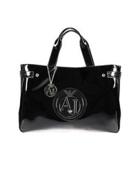 Armani Jeans - Black Handbag Patent Leather Classic Shopping Bag With Rhinest - Lyst