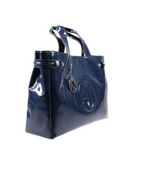 Armani Jeans - Blue Handbag Patent Leather Classic Shopping Bag With Rhinest - Lyst