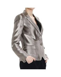 Emporio Armani - Natural Blazer 2 Buttons Satin Striped Devore' - Lyst