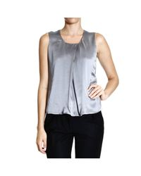 Giorgio Armani | Blue Top Sleeveless Silk | Lyst