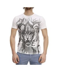 Just Cavalli - White T-shirt Mezza Manica Girocollo Stampa Tigre for Men - Lyst
