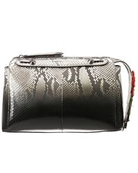 Fendi | Black and Beige Striped Snakeskin Peekaboo Satchel | Lyst