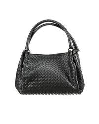 Bottega Veneta   Black Woven Doublecompartment Shoulder Bag   Lyst