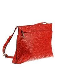 Loewe - Red Mini Bag Medium Logo Leather T-pouch - Lyst