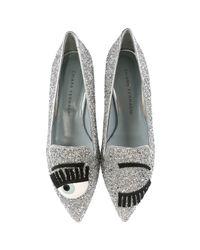 Chiara Ferragni - Gray Flirting Glitter Loafers - Lyst